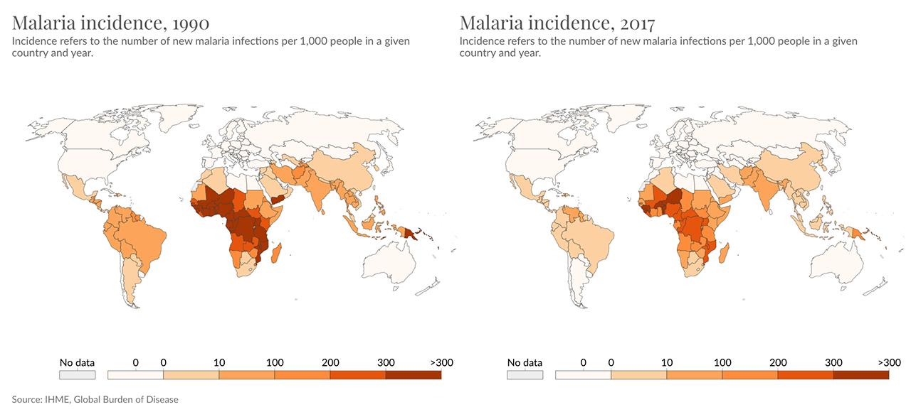 World map Malaria Incidence | 1990-2017