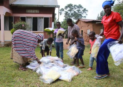 Children choose a mosquito net